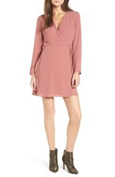 Lush Women's Crepe Surplice Dress Withered Rose