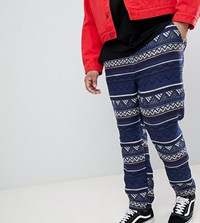 Asos Design Plus Festival Tapered Trousers In Blue Aztec Jacquard With Elasticated Waist