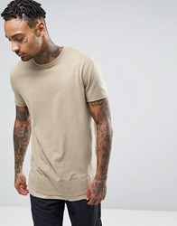 Asos Super Longline T Shirt With Woven Hem Detail In Beige Barley