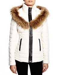 Mackage Adalina Fur Trim Down Jacket Off White