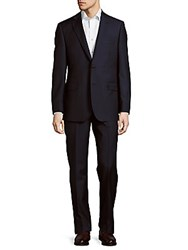 Saks Fifth Avenue Pinstriped Classic Fit Wool Suit Blue