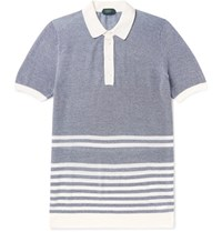 Incotex Striped Melange Cotton Pique Polo Shirt Blue