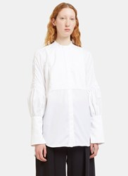 Ellery Surreal Ruched Sleeve Bib Shirt White
