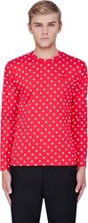 Comme Des Garcons Red Polka Dot Print Jersey Shirt