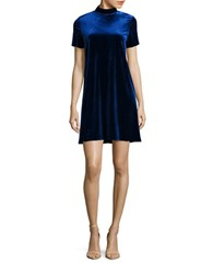 Design Lab Lord And Taylor Short Sleeve Mockneck Velvet Shift Dress Royal