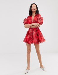 C Meo Collective Variation Short Sleeve Foral Mini Dress Pink