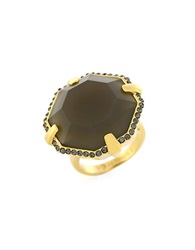 Louise Et Cie Octagon Stone Cocktail Ring Grey Gold