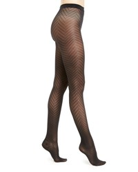 Wolford Rhoda Zigzag Patterned Tights Navy