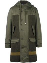 Cy Choi Hooded Panelled Coat Green
