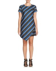 Cynthia Steffe Abbey Striped Asymmetrical Shift Dress Grey Cream