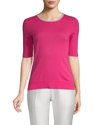 Saks Fifth Avenue Black Elbow Sleeve Cashmere Top Pink