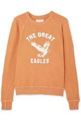 The Great College Distressed Printed Cotton Jersey Sweatshirt Saffron
