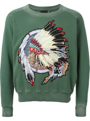 People People Native American Patch Sweatshirt Green