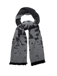 Mcq By Alexander Mcqueen Swallow Intarsia Knit Wool Blend Scarf Grey