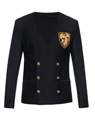 Balmain Double Breasted V Neck Jersey Blazer Black