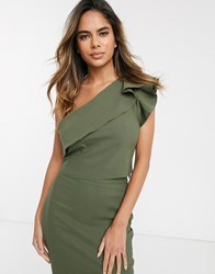 Vesper One Shoulder Crop Top With Frill Detail Co Ord In Khaki Green