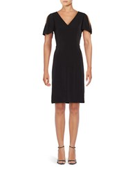 T Tahari Split Sleeve Sheath Dress Black