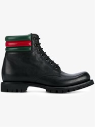 Gucci Web Detail Military Boots Black