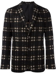 Z Zegna Plaid Single Breasted Blazer Black