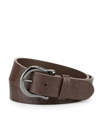 Robert Graham Vince Paisley Embossed Leather Belt Brown