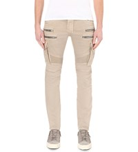 Balmain Biker Slim Fit Skinny Stretch Denim Jeans Beige