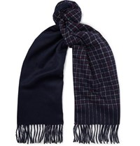 J.Crew Fringed Checked Cashmere Scarf Navy