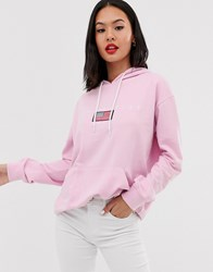 Daisy Street Oversized Hoodie With La Graphics Pink