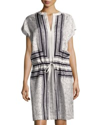 Vince Scarf Print Drawstring Waist Silk Dress White Black