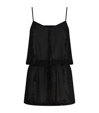 Elizabeth Hurley Beach Embellished Drop Waist Camisole Dress Female Black