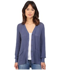 Brigitte Bailey Textured Stitched High Low V Neck Cardigan Indigo Women's Sweater Blue