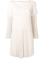 Aniye By Lace Insert Pleated Dress Neutrals
