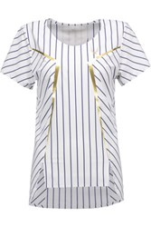 Lucas Hugh Striped Stretch T Shirt White