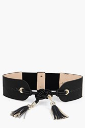Boohoo Knot And Tassel Obi Belt Black