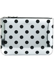 Comme Des Garcons Wallet Polka Dot Wallet Unisex Calf Leather Metallic