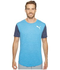 Puma Dri Release Color Block Tee French Blue Heather Peacoat Heather Men's T Shirt