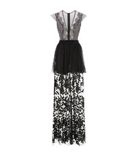 Costarellos Lace Skirt Sheer Maxi Gown Female Black