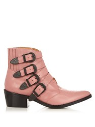 Toga Buckle Leather Ankle Boots Pink