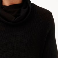 River Island Mens Black Cowl Neck Jumper