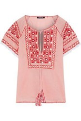 Love Sam Lace Trimmed Embroidered Cotton Voile Top Antique Rose