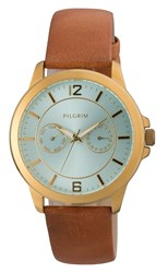 Pilgrim Classic Gold Plated And Brown Watch Brown
