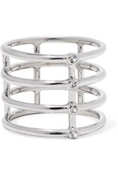 Elizabeth And James Silver Tone Crystal Ring Silver