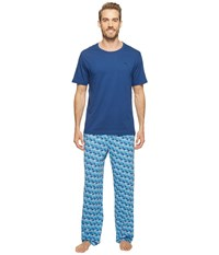 Tommy Bahama Short Sleeve Jersey Two Piece Pajama All Palm Trees Men's Pajama Sets Blue