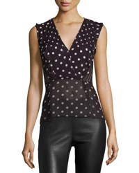 Veronica Beard Elle Polka Dot Silk Chiffon Top Black Red Cream Black Red Cream