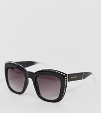 River Island Oversized Sunglasses With Diamante Detail In Black