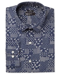 Bar Iii Men's Slim Fit Stretch Navy Patchwork Print Dress Shirt Only At Macy's