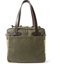 Filson Leather Trimmed Canvas Tote Green