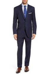Peter Millar Men's Big And Tall Classic Fit Stripe Wool Suit Navy