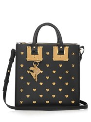 Sophie Hulme Square Albion Heart Embellished Leather Tote Black Gold