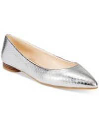 Nine West Onlee Pointed Toe Ballet Flats Women's Shoes Silver Snake
