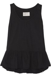 Current Elliott The Ballet Ruffled Cotton Gauze Tank Black